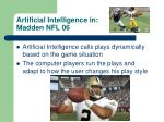 artificial intelligence in madden nfl 06