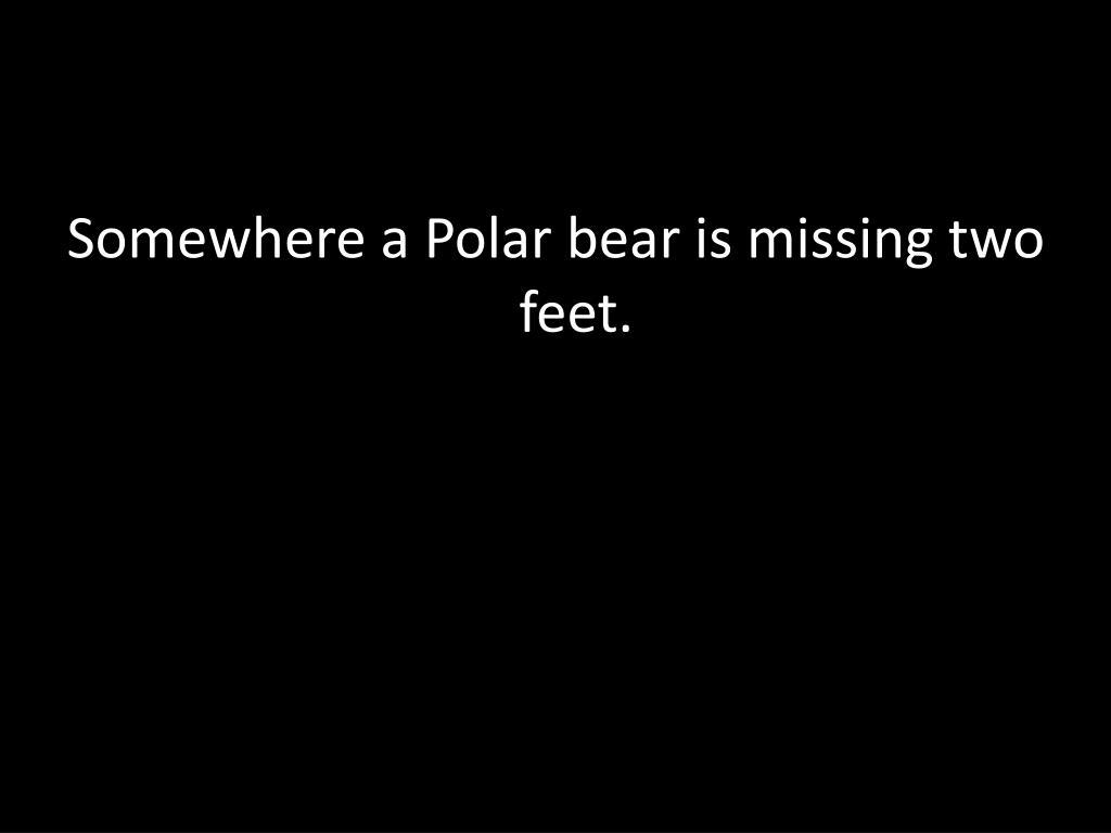Somewhere a Polar bear is missing two feet.