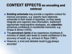 context effects on encoding and retrieval