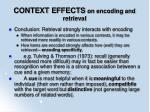 context effects on encoding and retrieval96