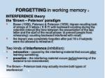 forgetting in working memory 2