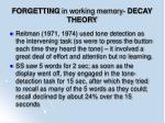 forgetting in working memory decay theory