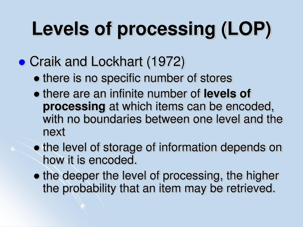 Levels of processing (LOP)