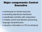 major components central executive