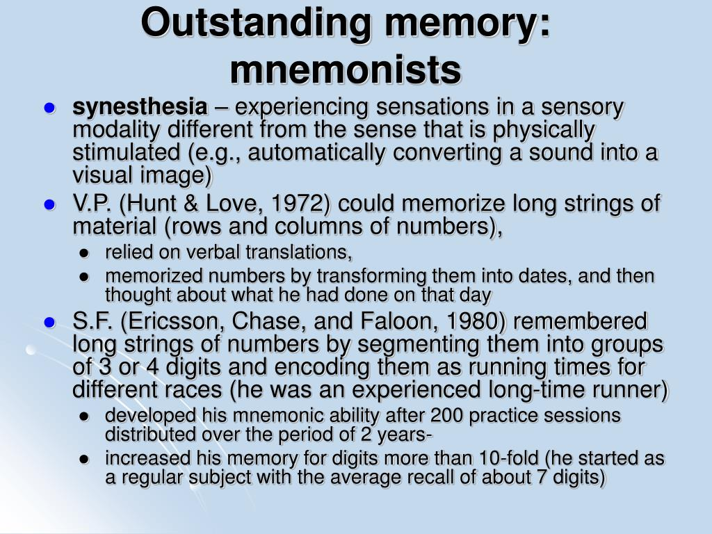 Outstanding memory: mnemonists