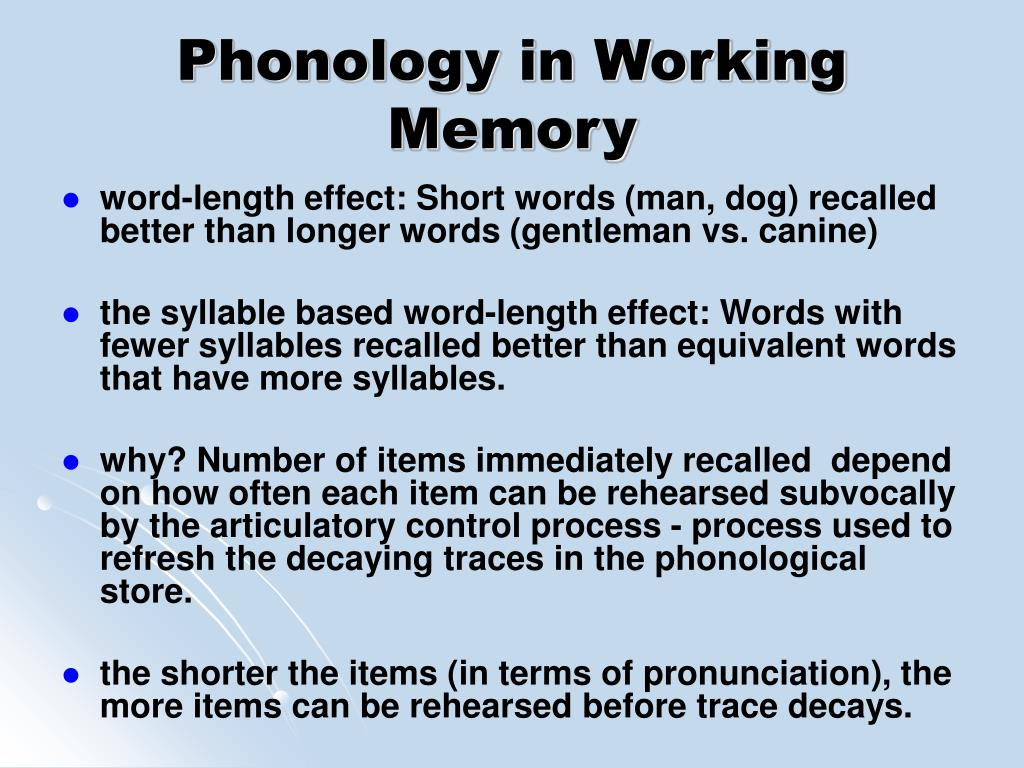 Phonology in Working Memory