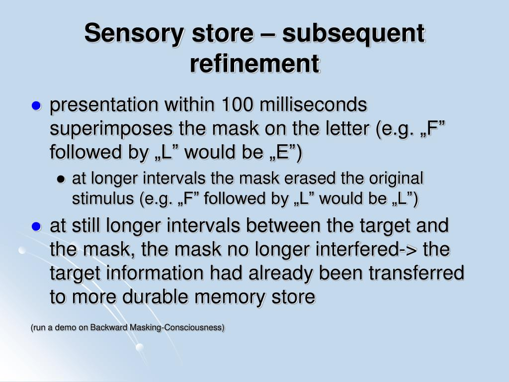Sensory store – subsequent refinement