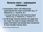 sensory store subsequent refinement29