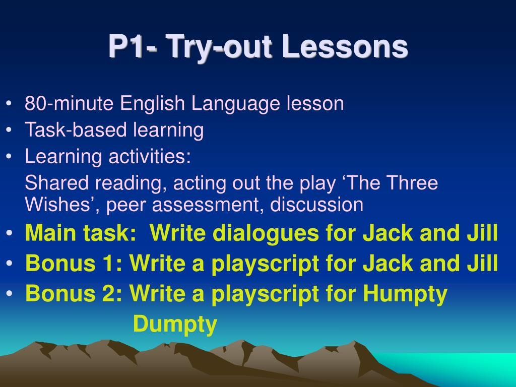 P1- Try-out Lessons