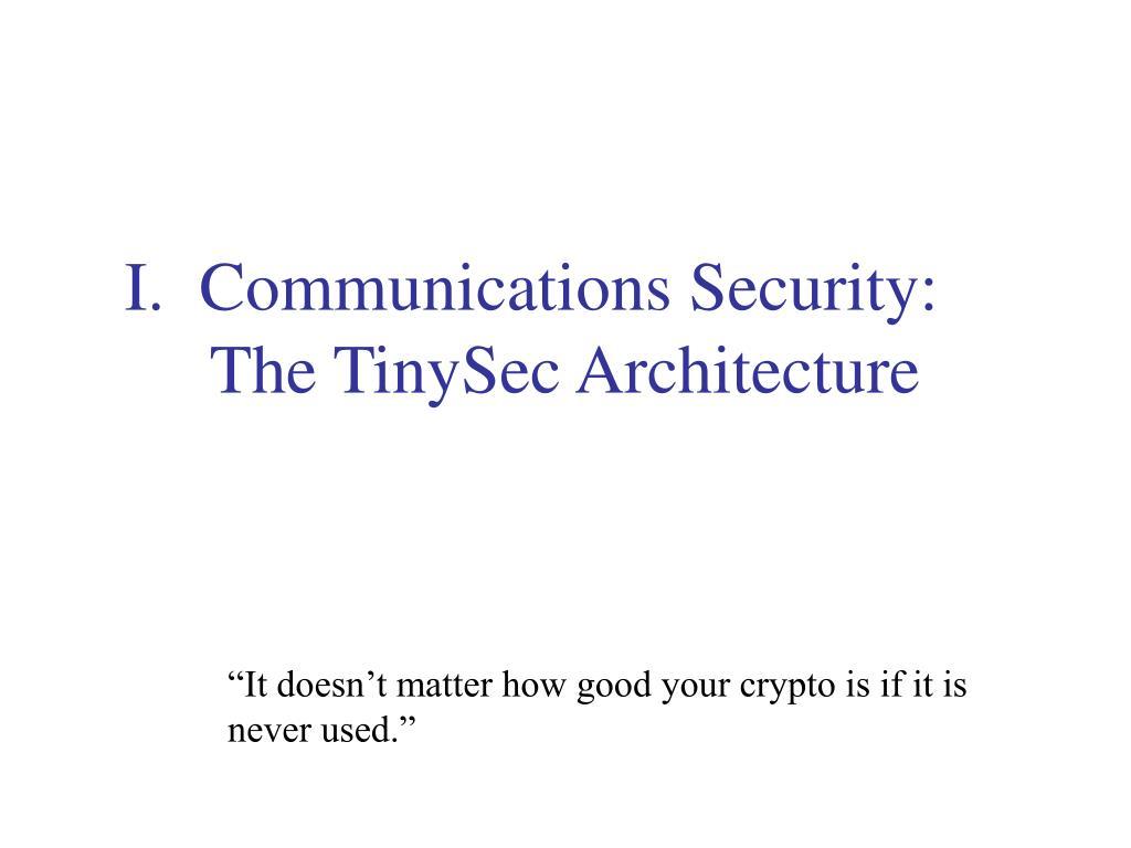 I.  Communications Security: