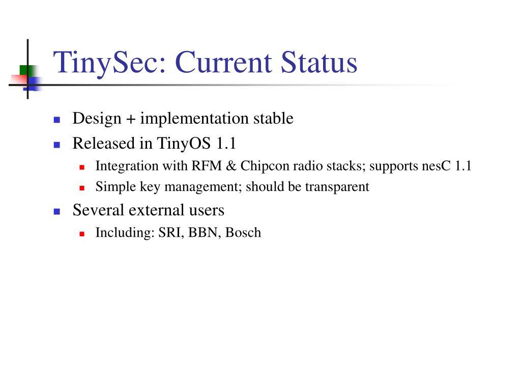 TinySec: Current Status