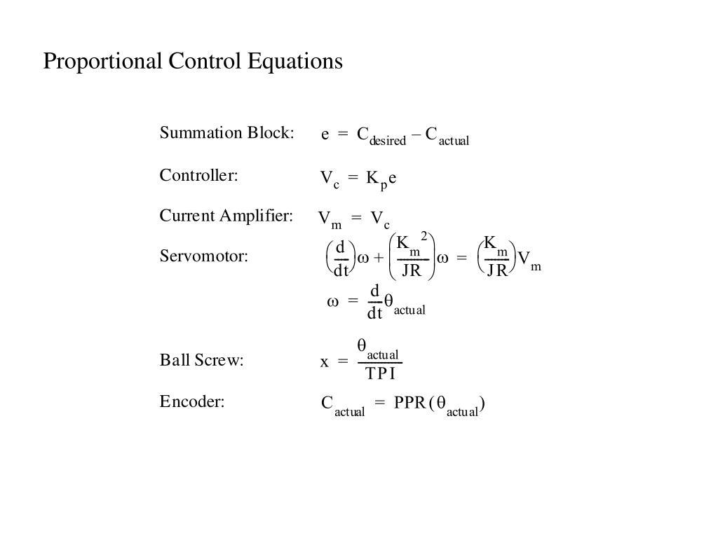 Proportional Control Equations