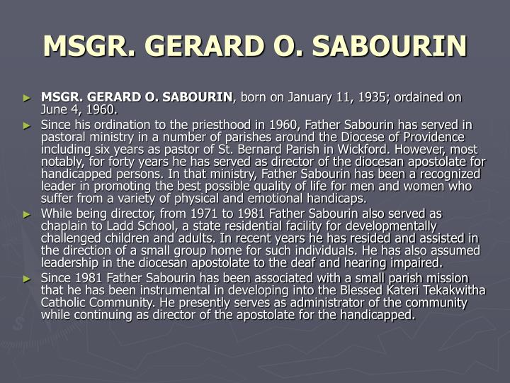 Msgr gerard o sabourin