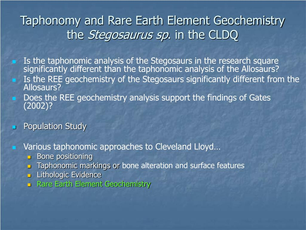 Taphonomy and Rare Earth Element Geochemistry the
