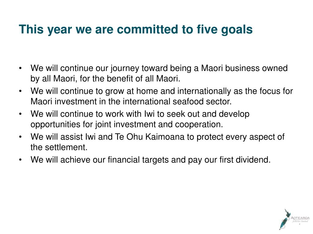 This year we are committed to five goals