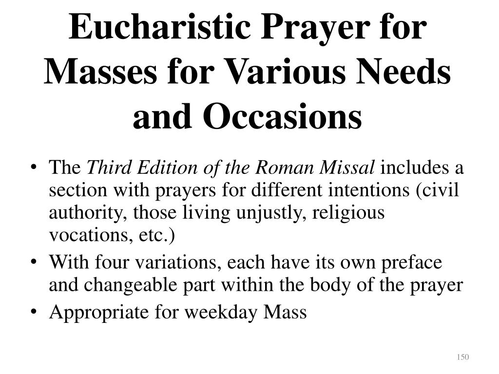 Eucharistic Prayer for Masses for Various Needs and Occasions