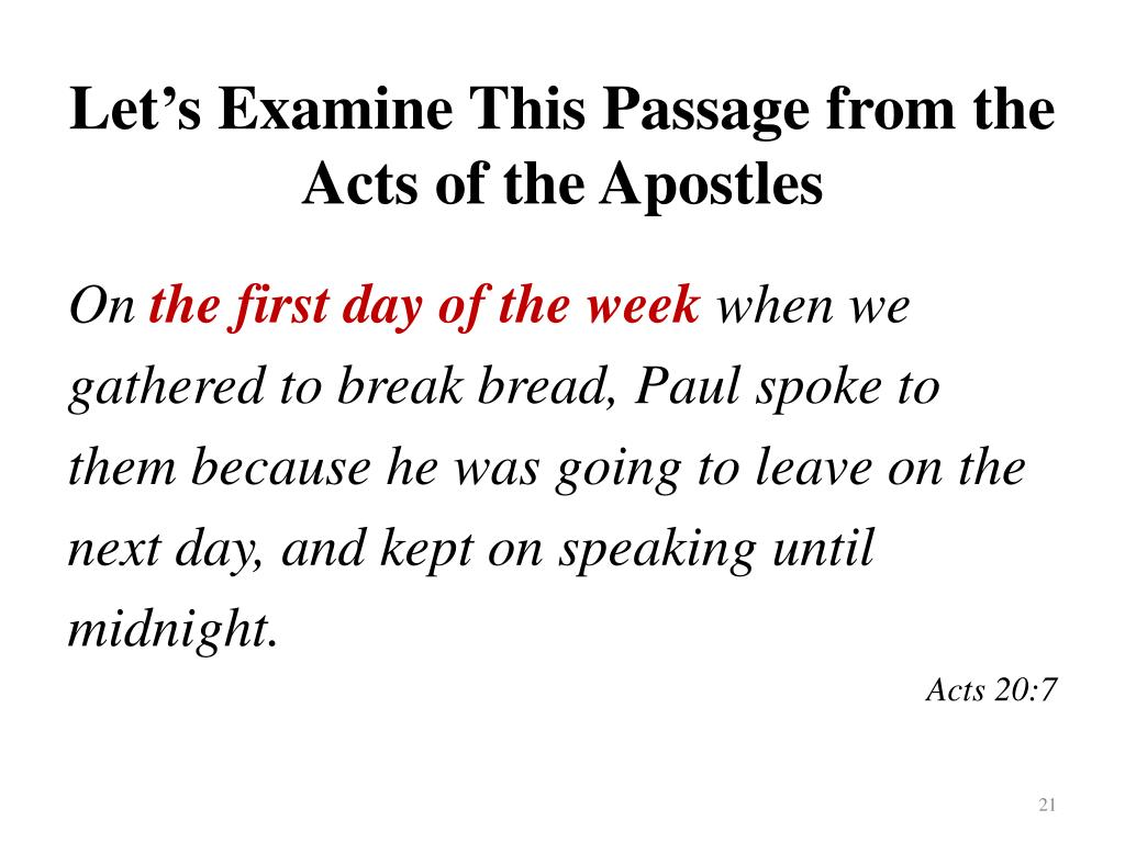 Let's Examine This Passage from the Acts of the Apostles