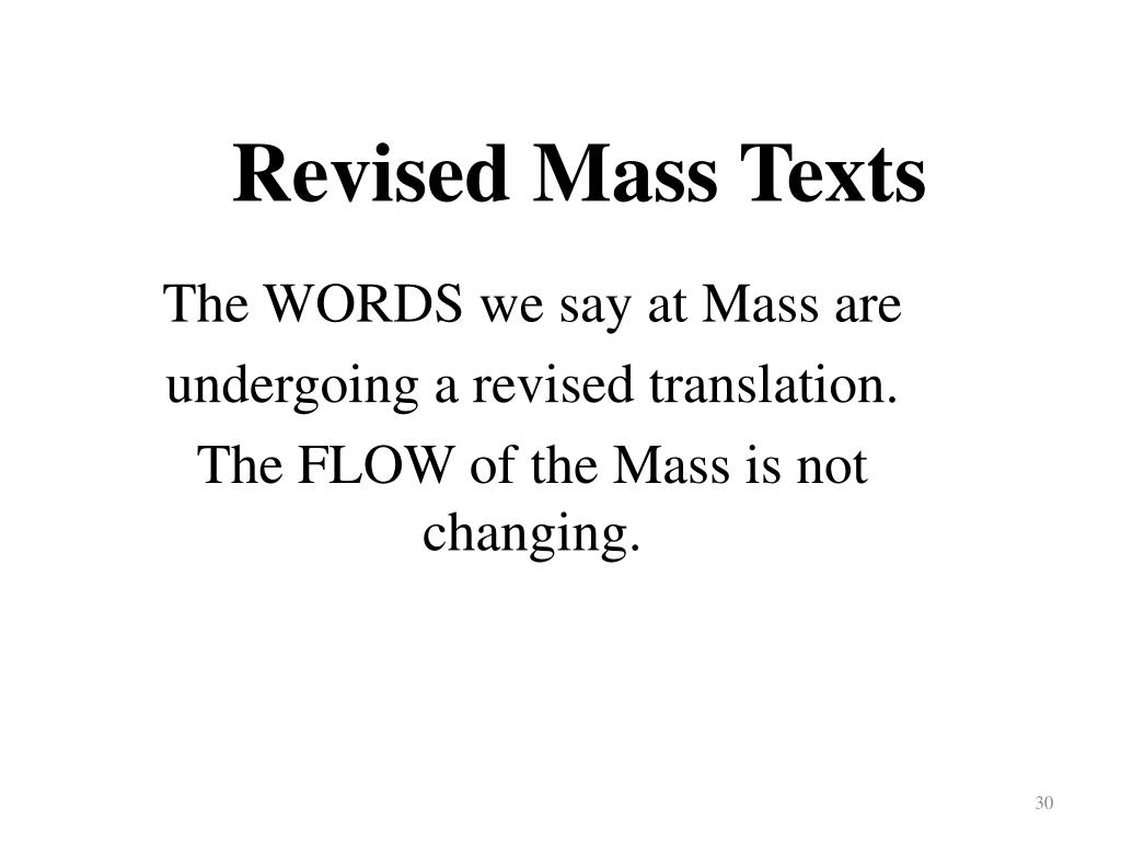 Revised Mass Texts