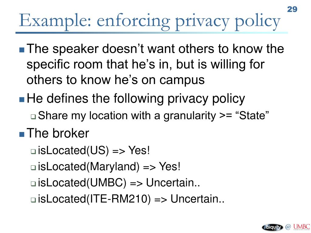 Example: enforcing privacy policy