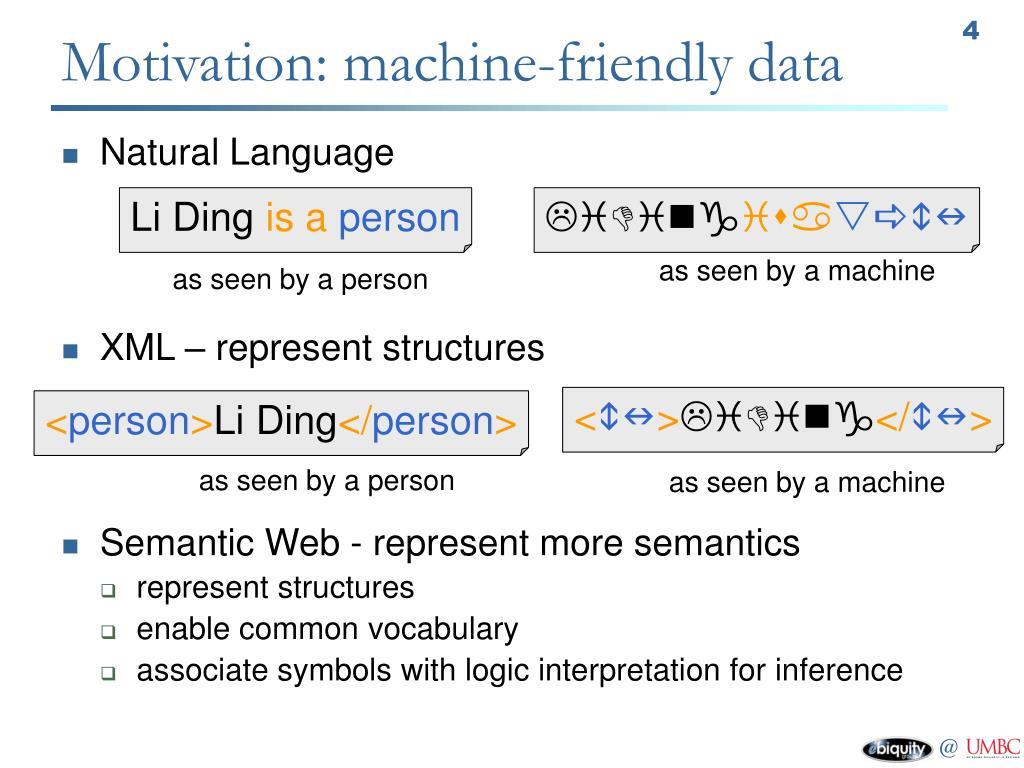 Motivation: machine-friendly data