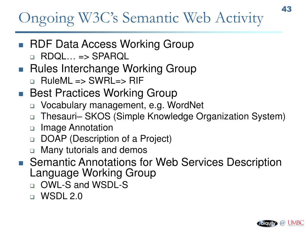 Ongoing W3C's Semantic Web Activity