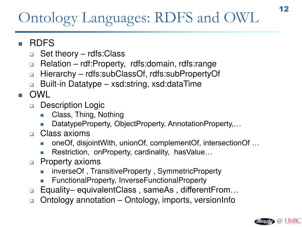 Ontology Languages: RDFS and OWL