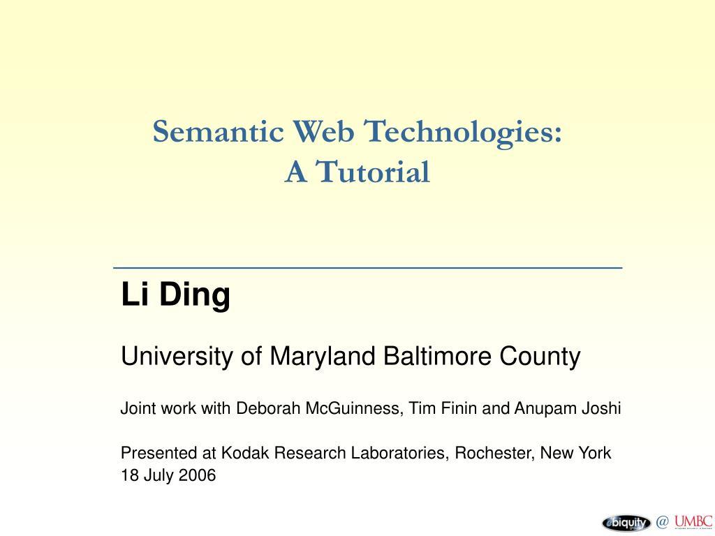 Semantic Web Technologies: