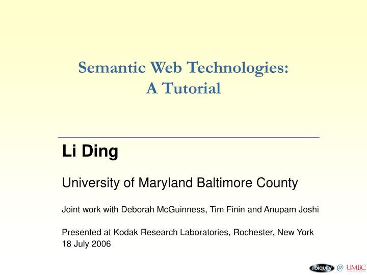 Semantic web technologies a tutorial