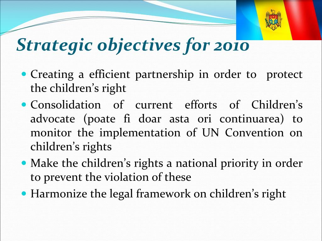 Strategic objectives for 2010