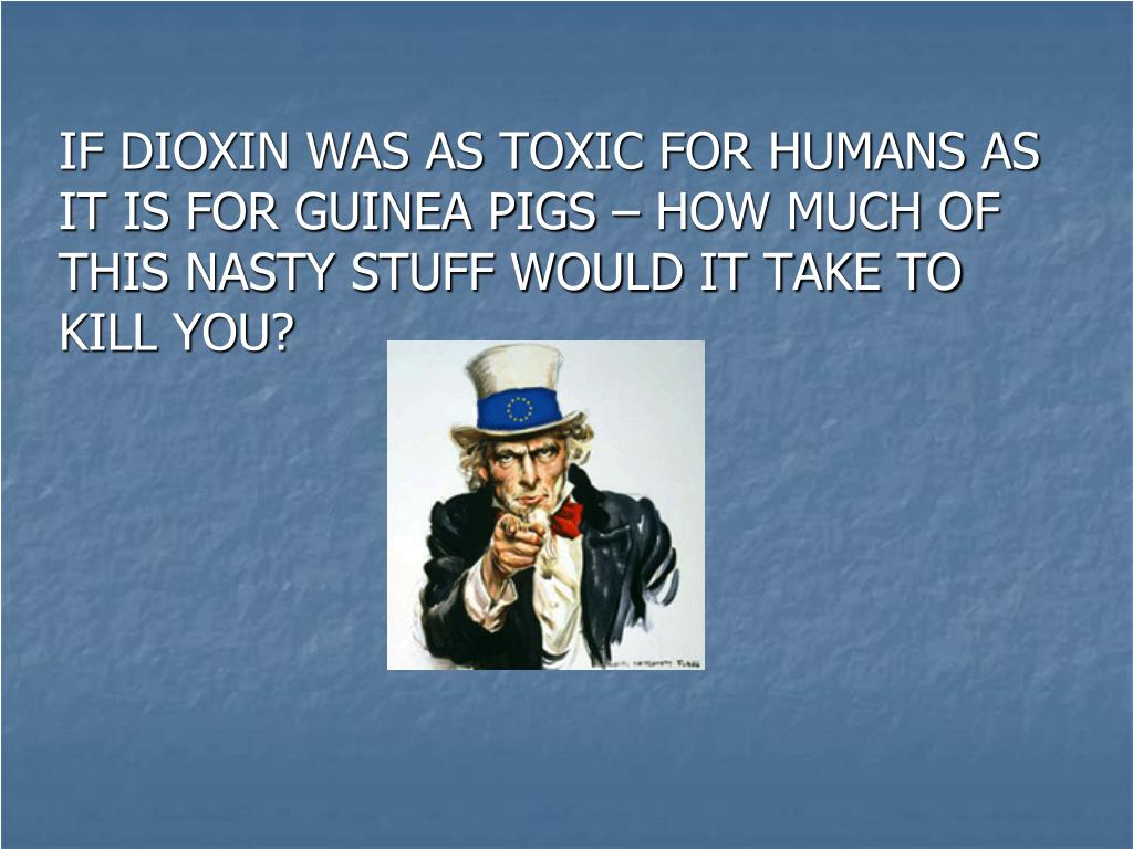 IF DIOXIN WAS AS TOXIC FOR HUMANS AS IT IS FOR GUINEA PIGS – HOW MUCH OF THIS NASTY STUFF WOULD IT TAKE TO KILL YOU?
