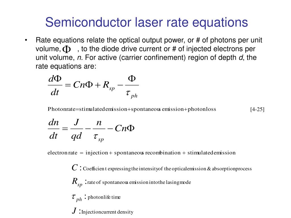 Semiconductor laser rate equations