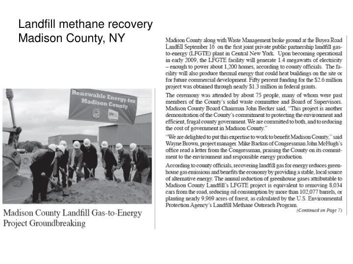 Landfill methane recovery