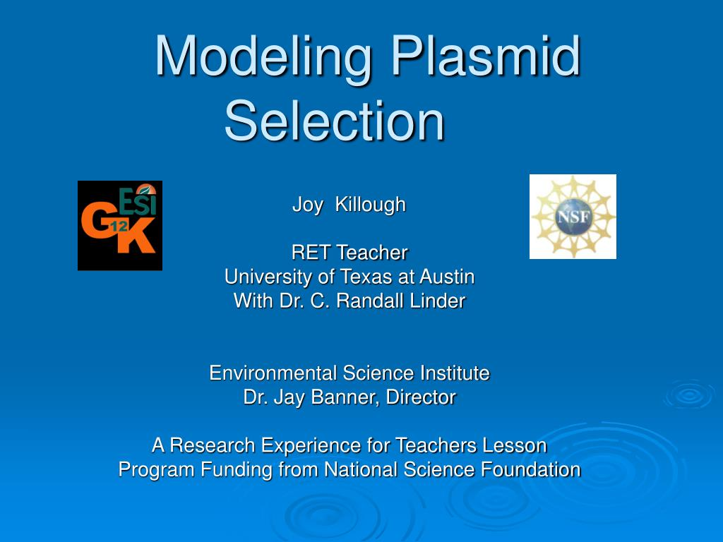modeling plasmid selection l.