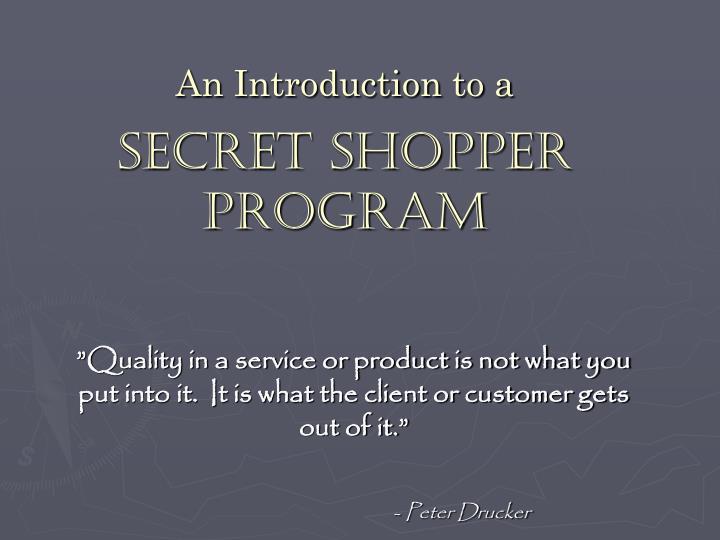 an introduction to a secret shopper program n.