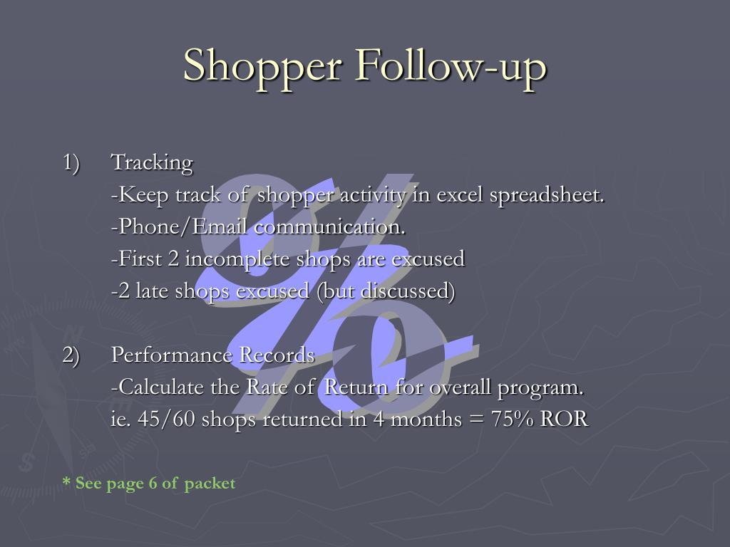 Shopper Follow-up