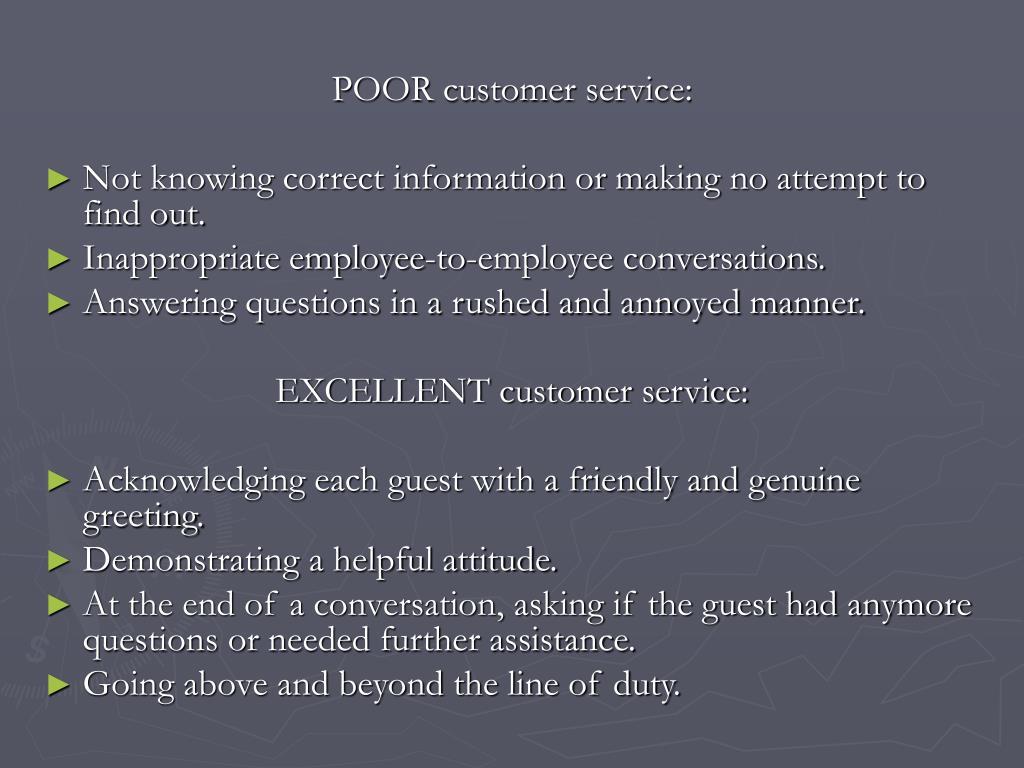 POOR customer service:
