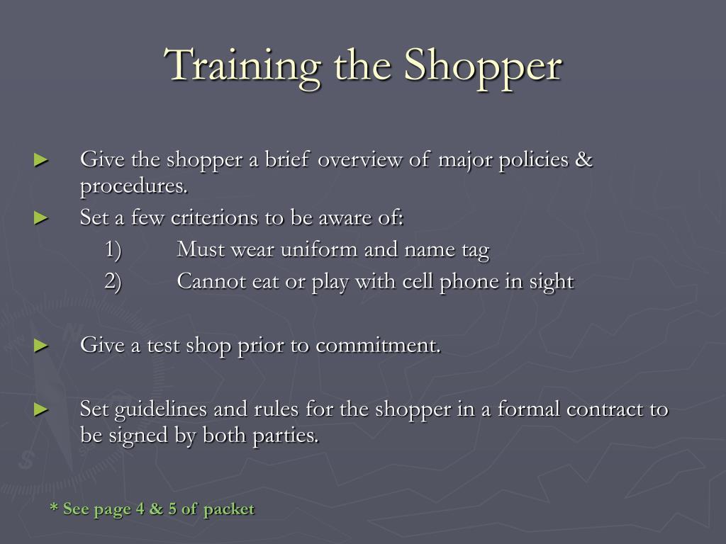 Training the Shopper