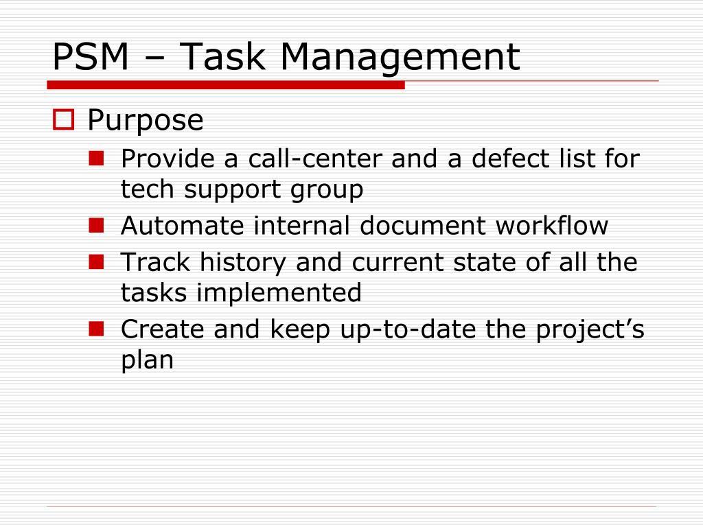 PSM – Task Management