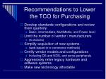 recommendations to lower the tco for purchasing