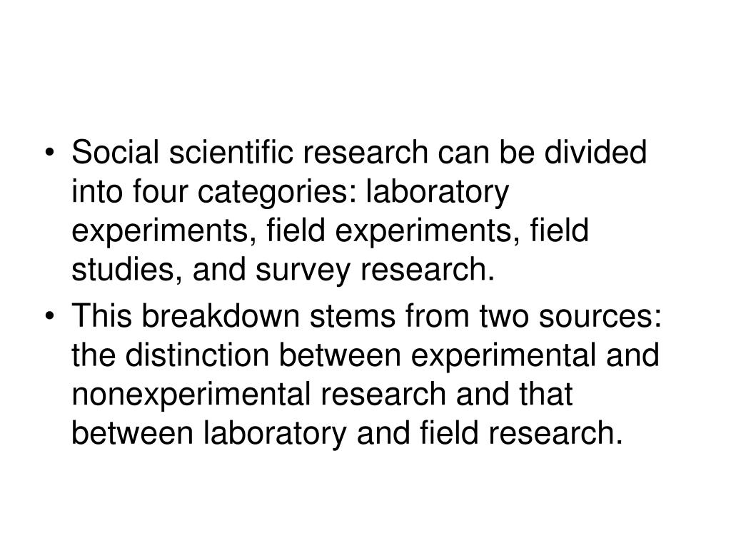 Social scientific research can be divided into four categories: laboratory experiments, field experiments, field studies, and survey research.