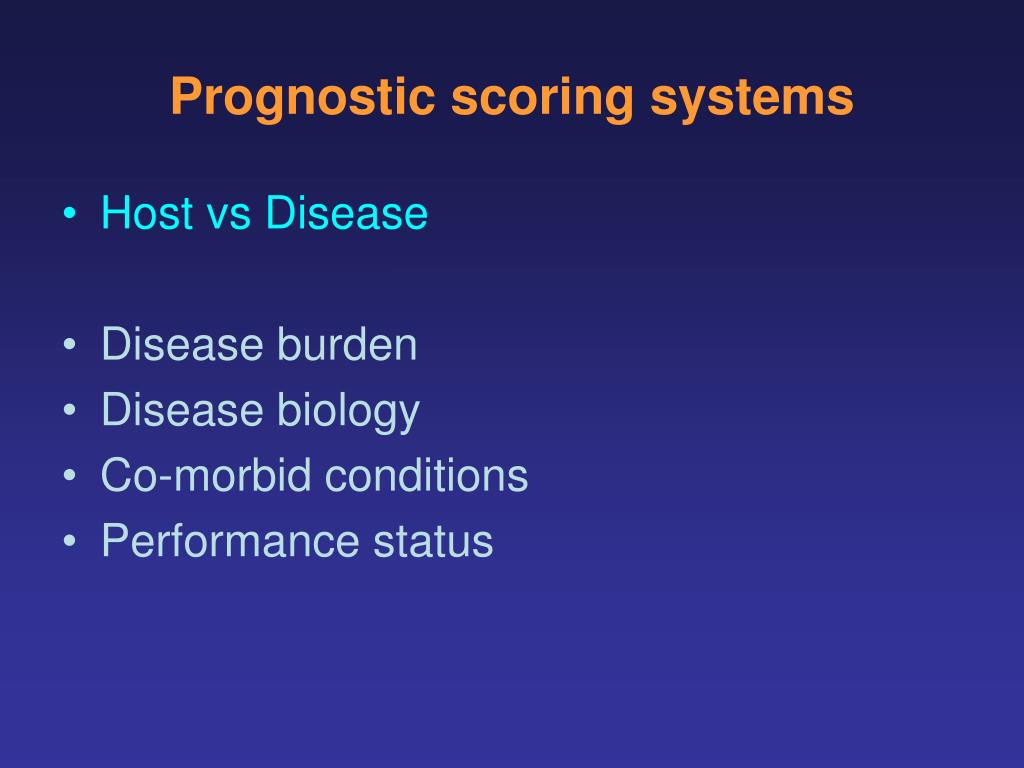 Prognostic scoring systems