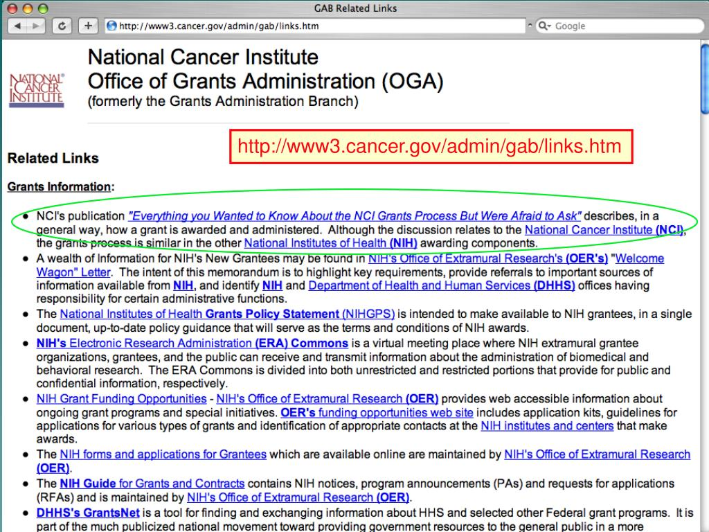http://www3.cancer.gov/admin/gab/links.htm
