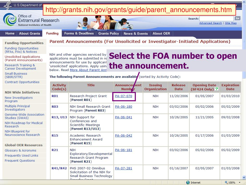 http://grants.nih.gov/grants/guide/parent_announcements.htm