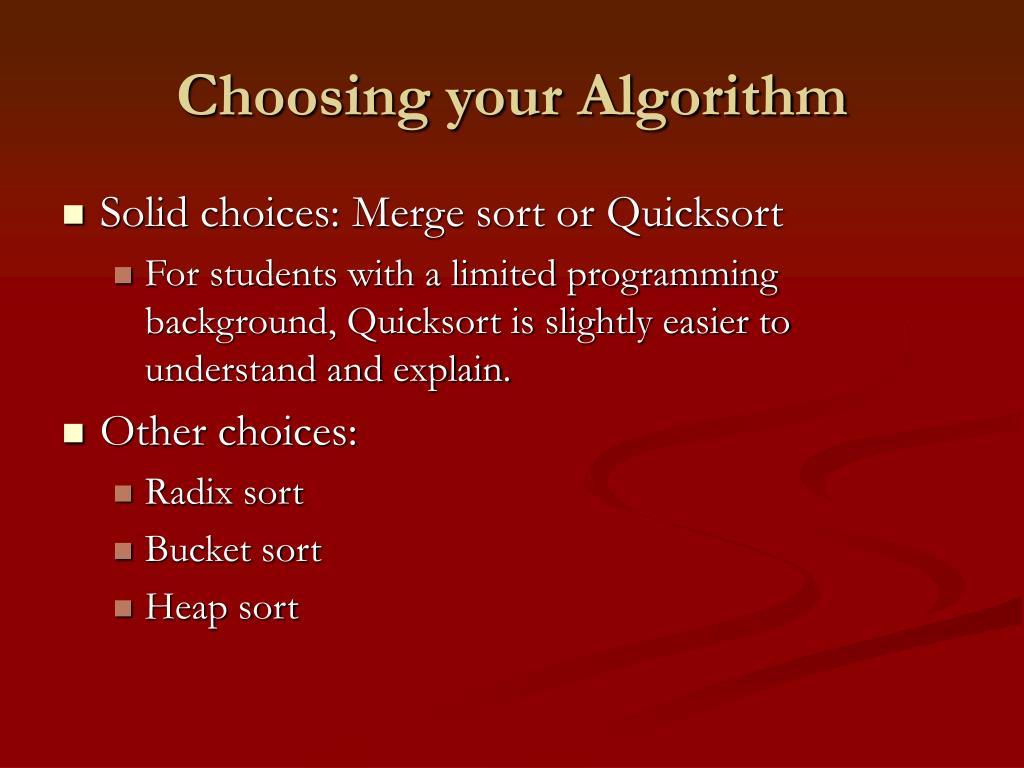 Choosing your Algorithm