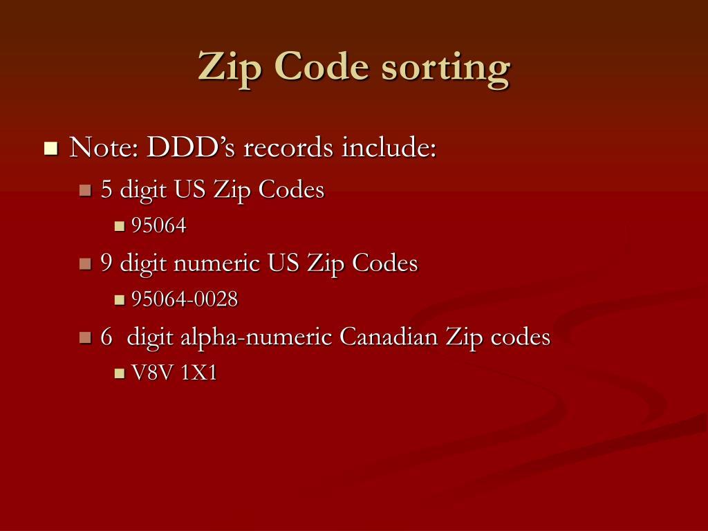 Zip Code sorting