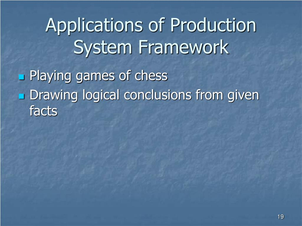 Applications of Production System Framework