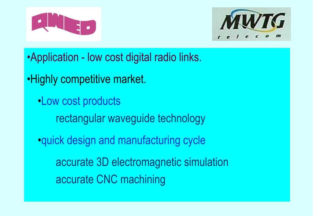 •Application - low cost digital radio links.