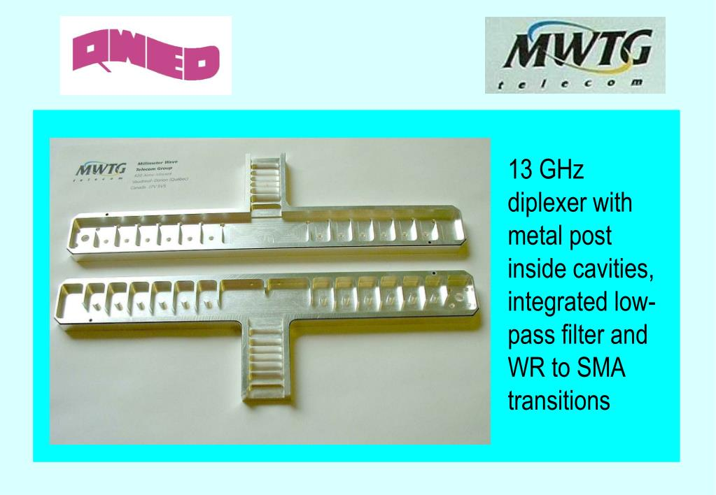 13 GHz diplexer with metal post inside cavities, integrated low-pass filter and WR to SMA transitions