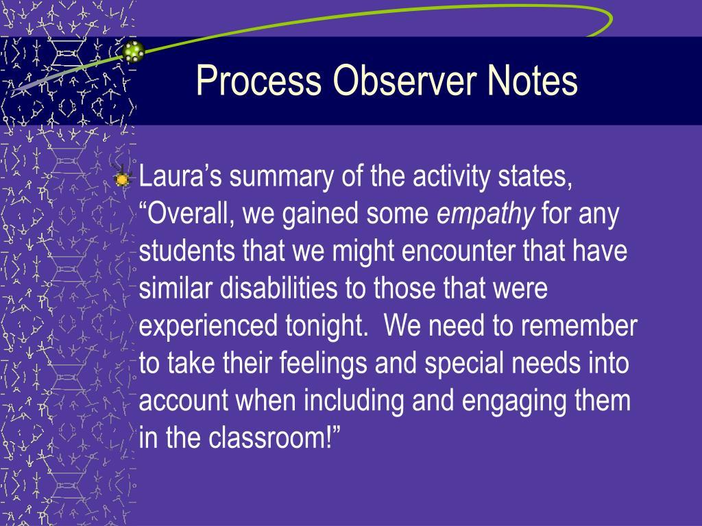 Process Observer Notes