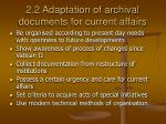 2 2 adaptation of archival documents for current affairs